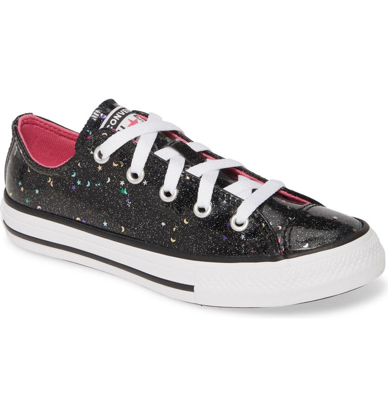 CONVERSE Chuck Taylor<sup>®</sup> All Star<sup>®</sup> Glitter Galaxy Low Top Sneaker, Main, color, BLACK/ MOD PINK/ WHITE