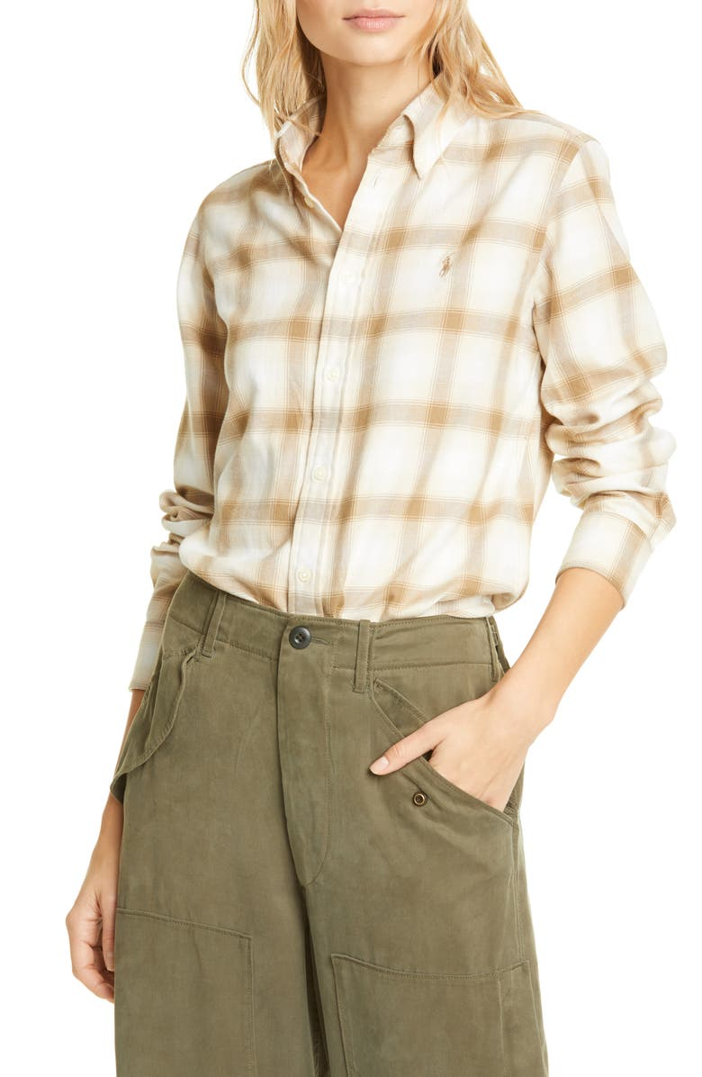 POLO RALPH LAUREN Georgia Plaid Flannel Button-Down Shirt, Main, color, CREAM/ SAND