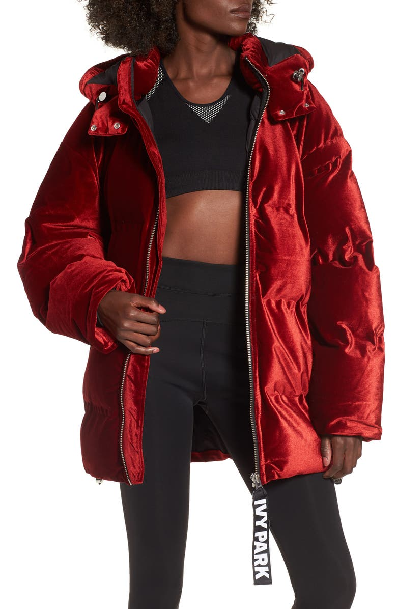 IVY PARK<SUP>®</SUP> Velvet Puffer Jacket, Main, color, 600