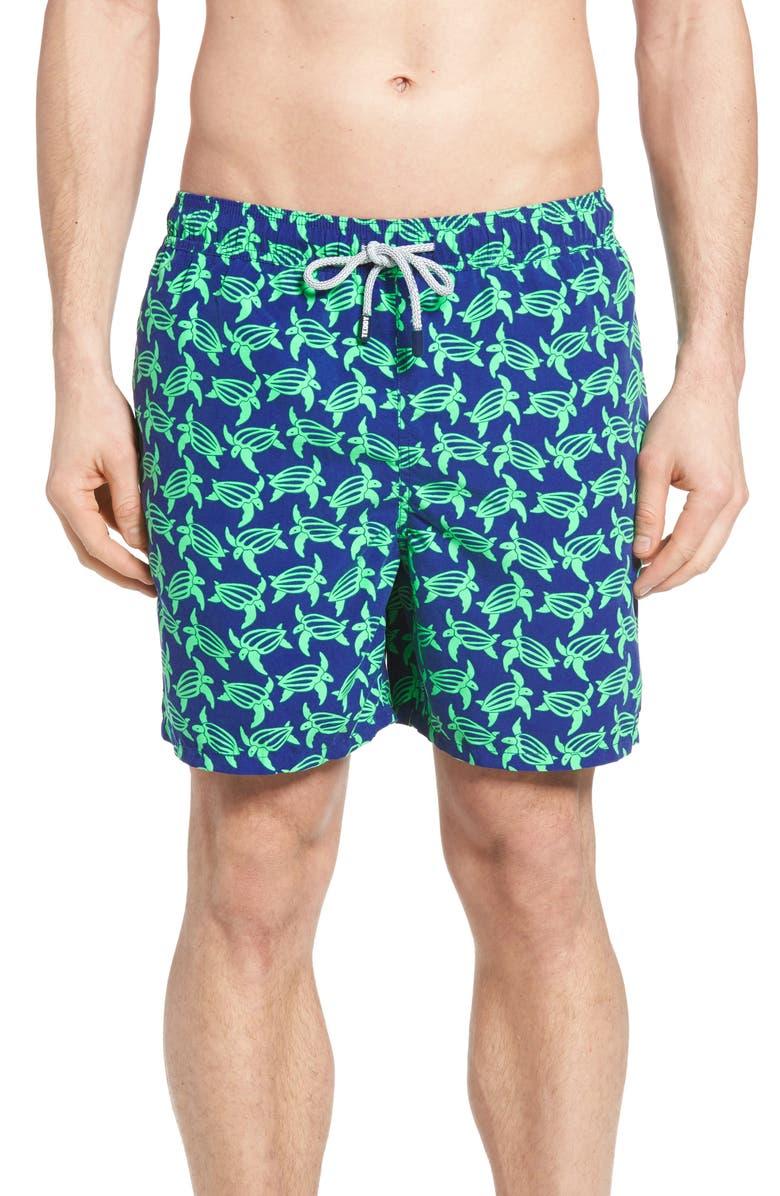 TOM & TEDDY Turtle Print Swim Trunks, Main, color, NAVY GREEN