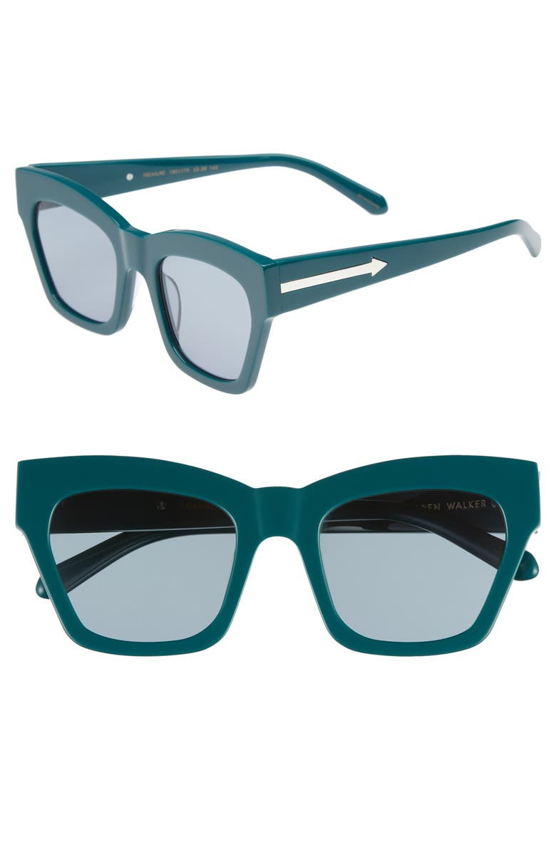 KAREN WALKER Treasure 52mm Cat Eye Sunglasses, Main, color, EMERALD/ EMERALD