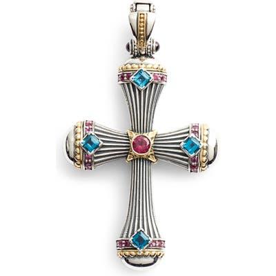 Konstantino Delos Gemstone Cross Pendant