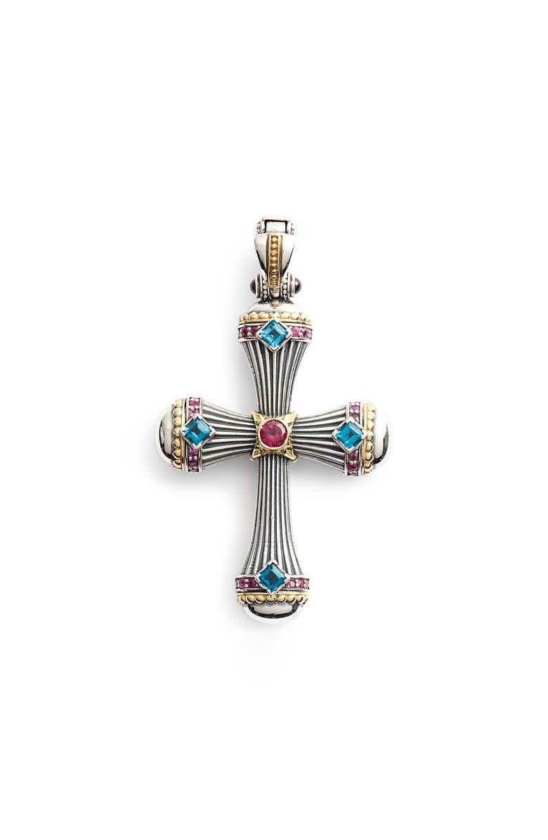 KONSTANTINO Delos Gemstone Cross Pendant, Main, color, 710