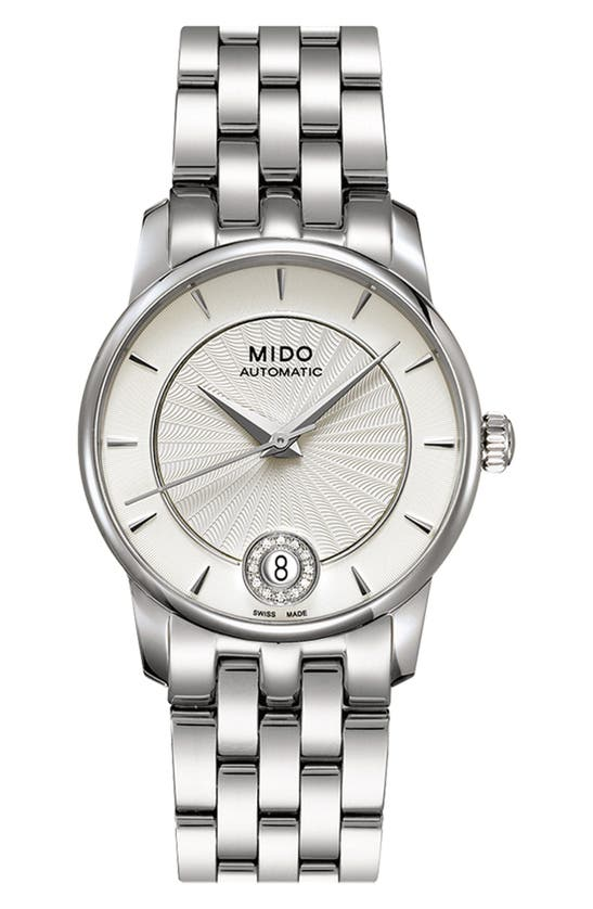 Mido Baroncelli Diamond Automatic Bracelet Watch, 33mm In Silver