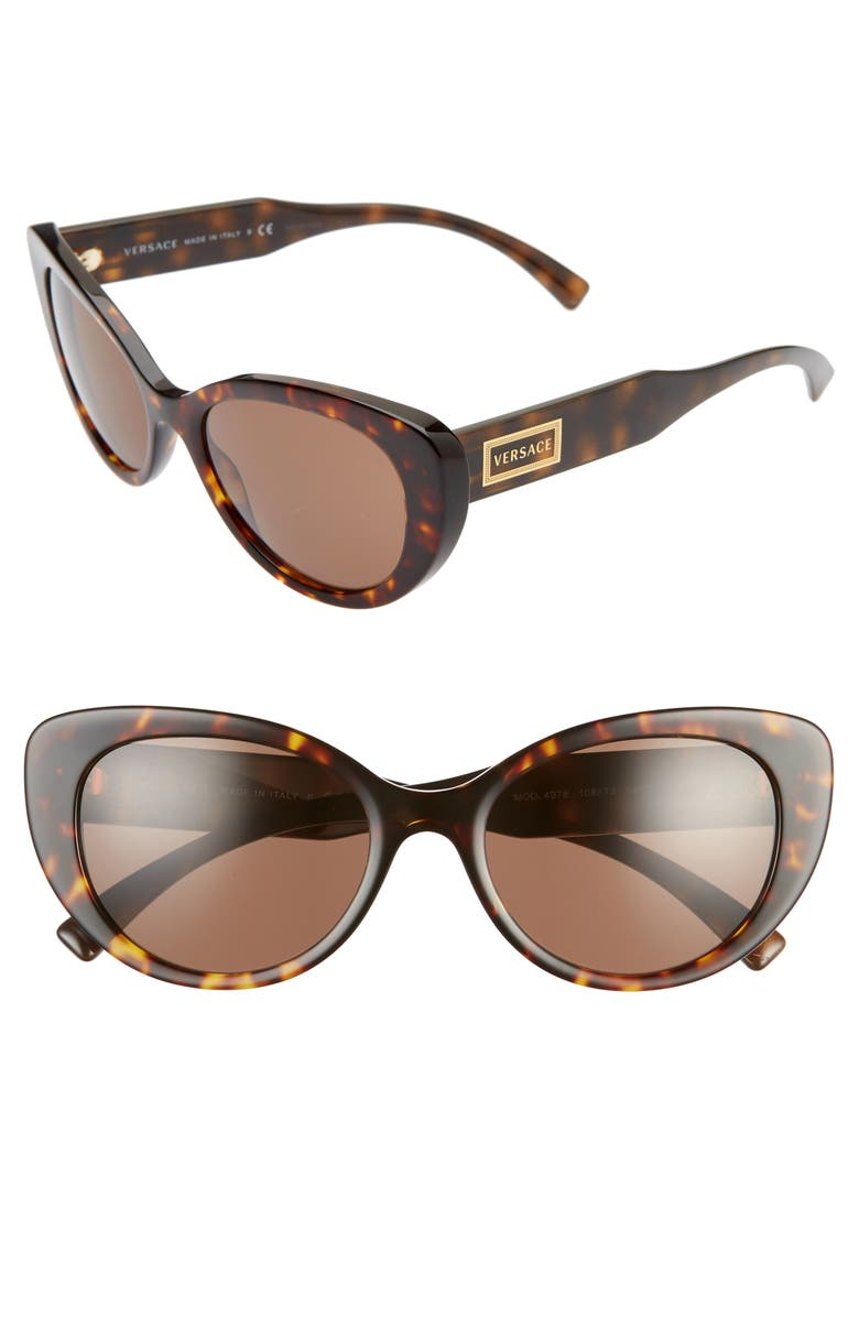 VERSACE 54mm Cat Eye Sunglasses, Main, color, HAVANA/ BROWN SOLID