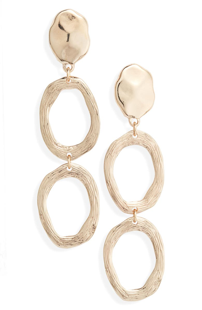 SOMETHING NAVY Scored Circle Drop Earrings, Main, color, GOLD