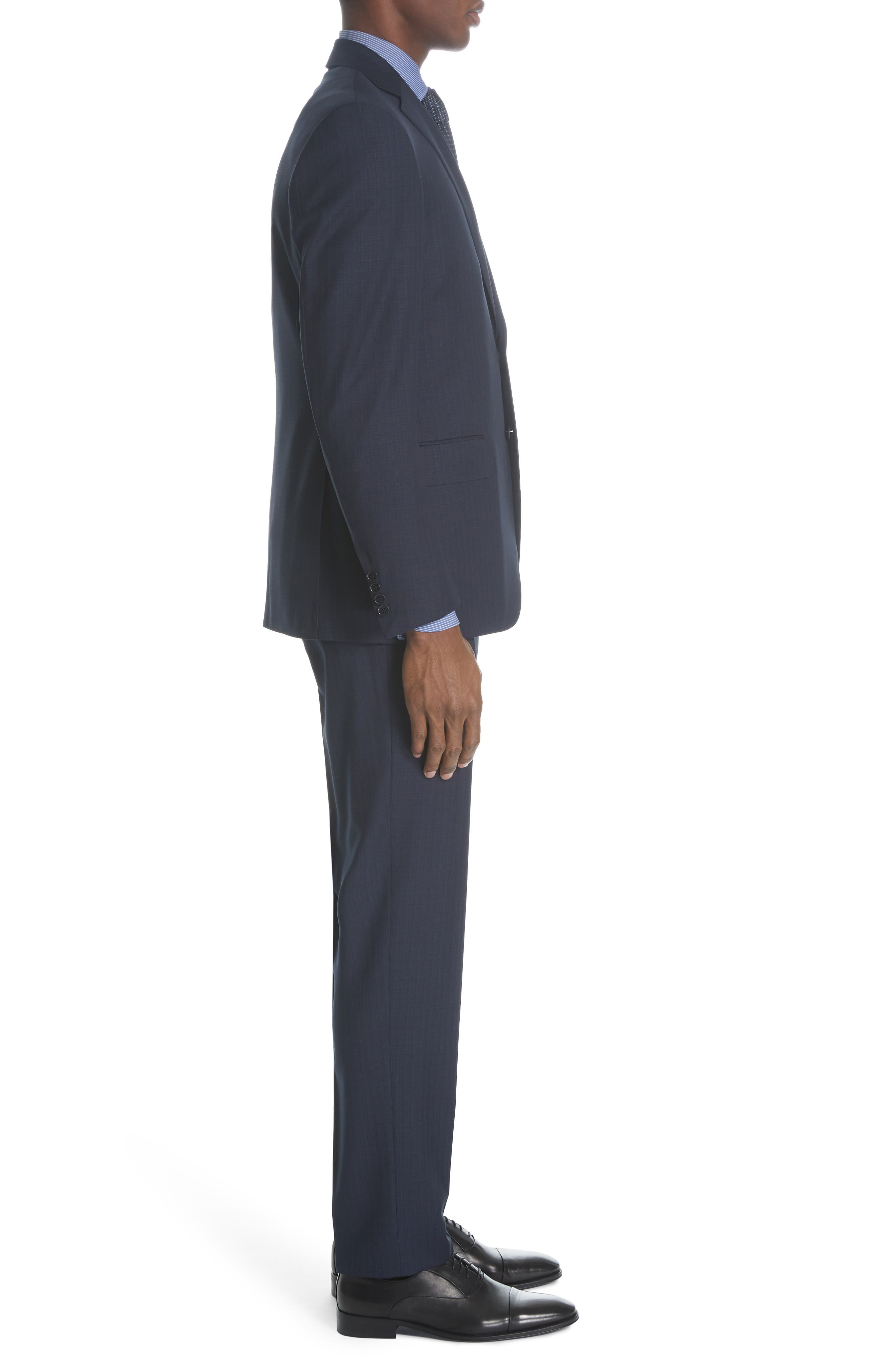 ,                             Siena Classic Fit Check Wool Suit,                             Alternate thumbnail 3, color,                             NAVY