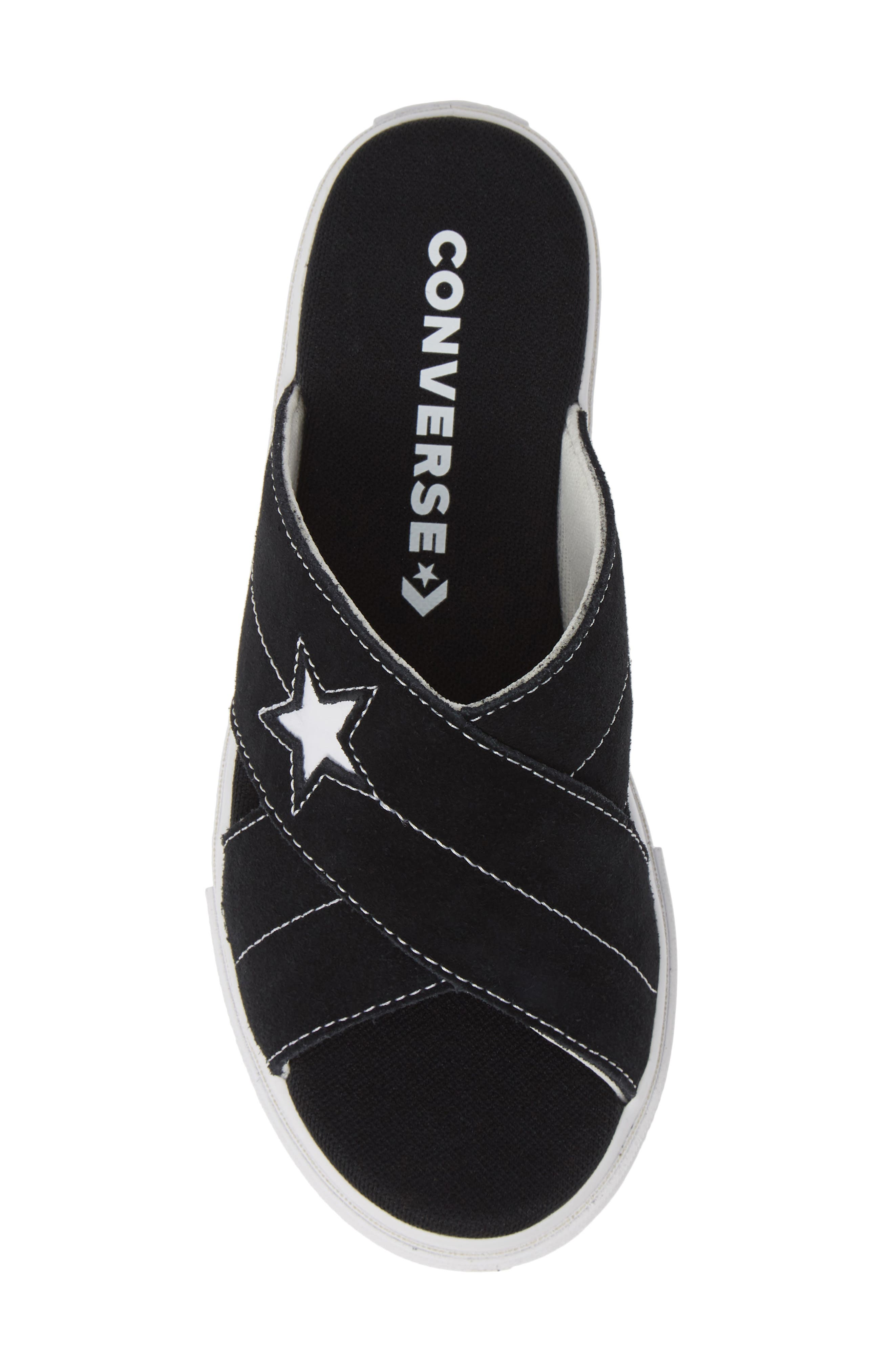 ,                             One Star Platform Slide Sandal,                             Alternate thumbnail 5, color,                             BLACK/ EGRET/ WHITE
