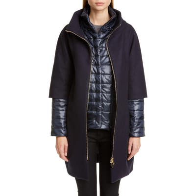 Herno Wool Blend Cocoon Coat With Removable Sleeves & Bib, 8 IT - Blue