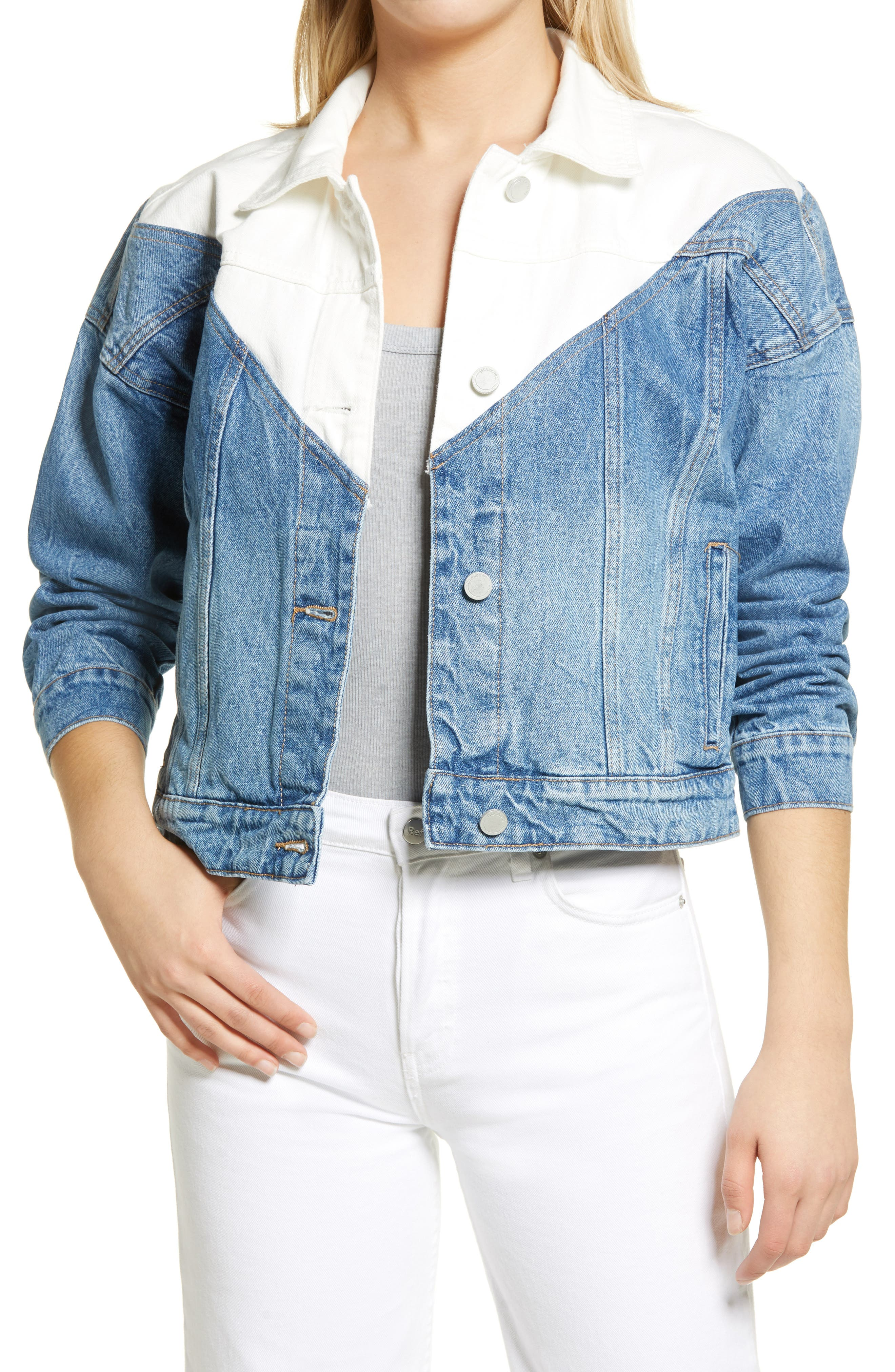 Women's Blanknyc Patchwork Drop Denim Jacket, Size Large - Blue