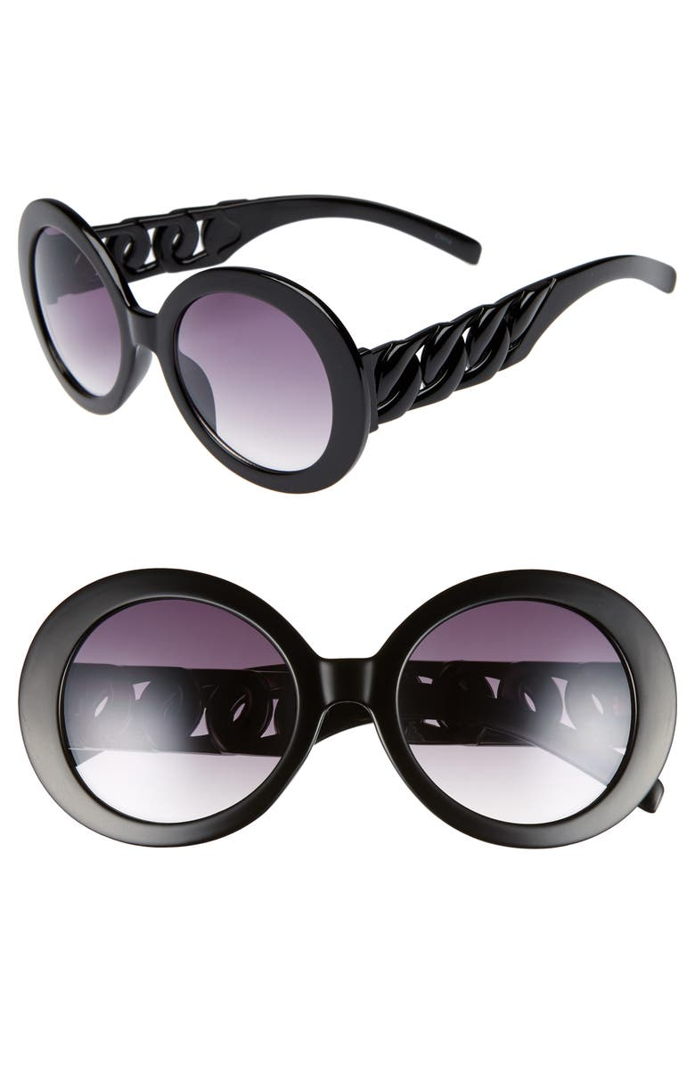BP. 52mm Round Chain Detail Sunglasses, Main, color, 001