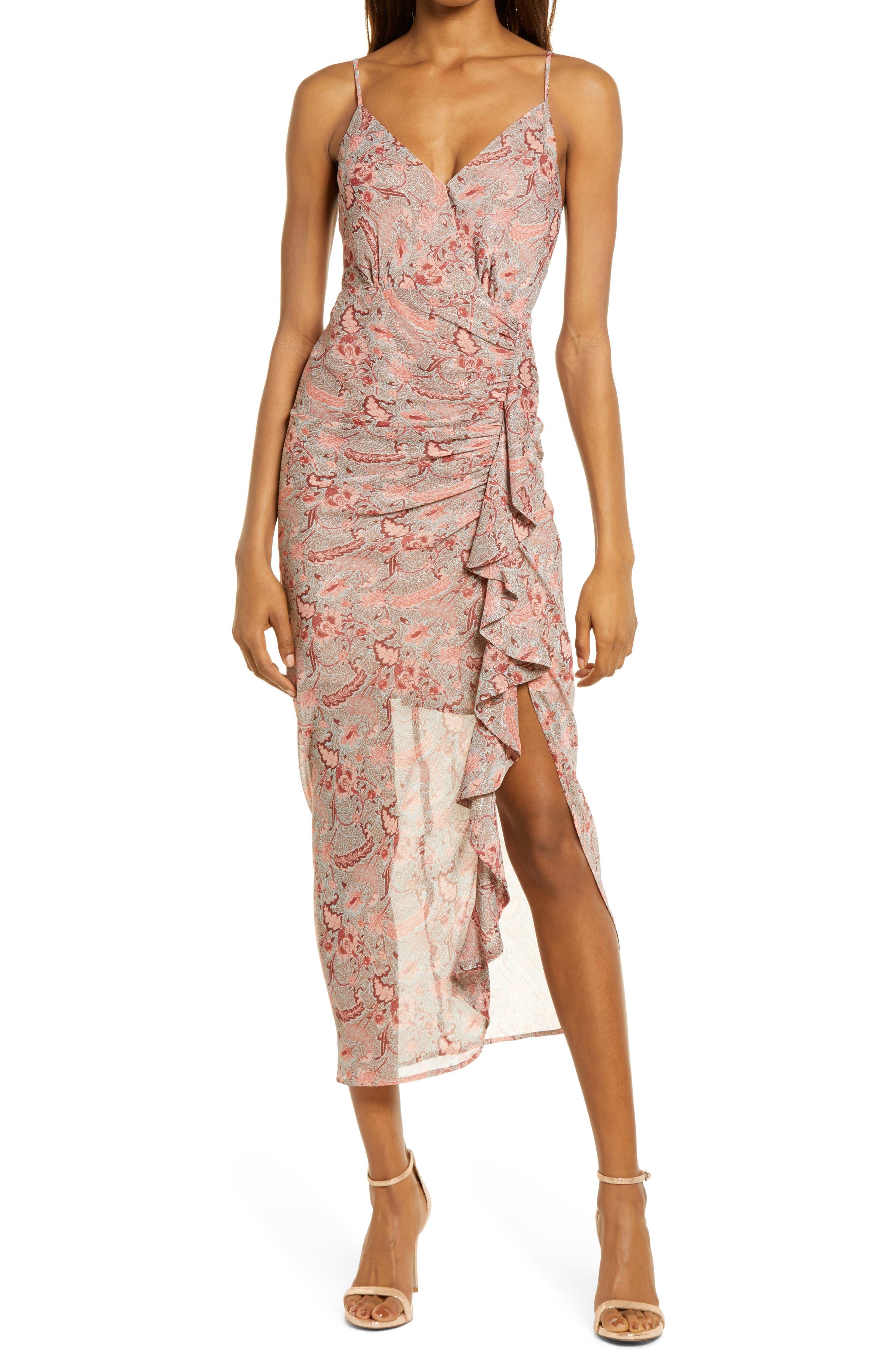 Floral Ruffle Chiffon Dress