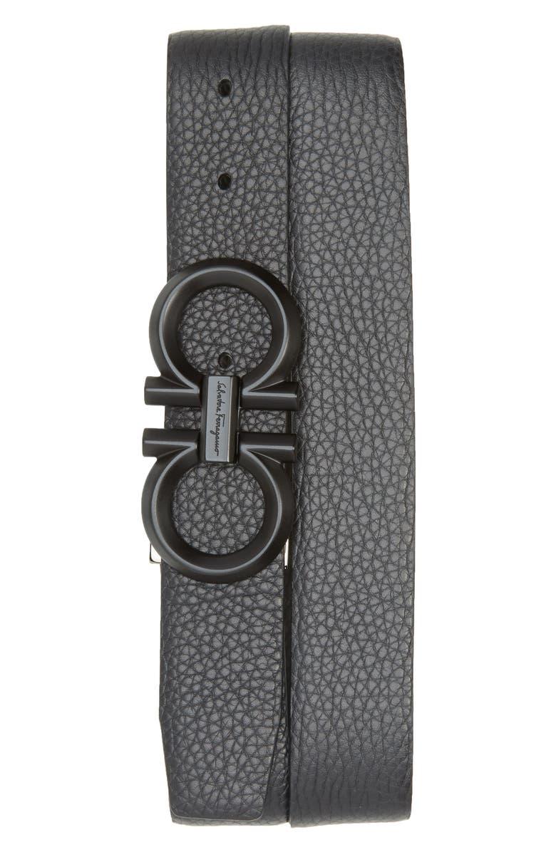 SALVATORE FERRAGAMO Reversible Leather Belt, Main, color, NERO / ASFALTO GREY