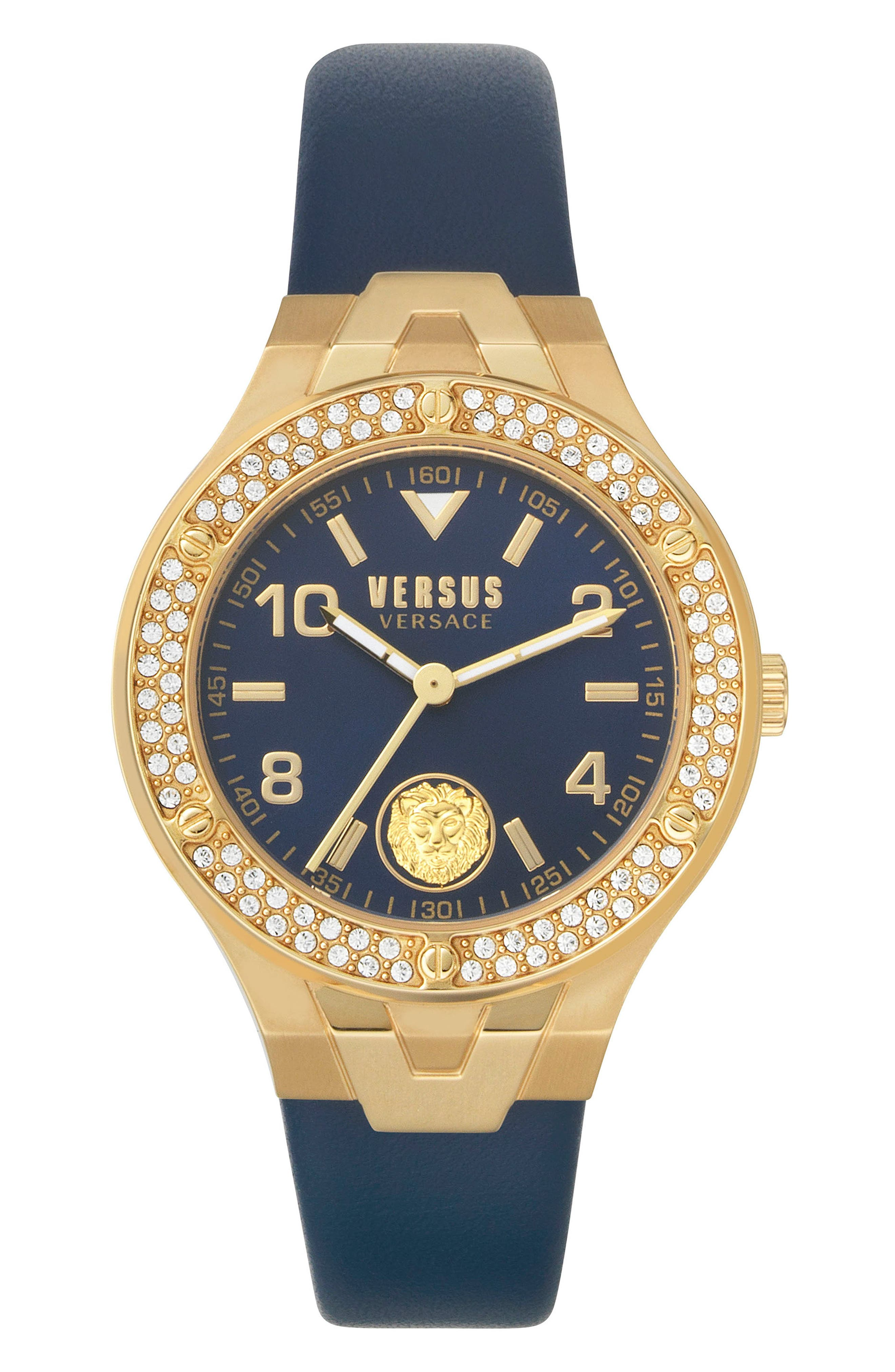 Image of VERSUS Vittoria Leather Strap Watch, 38mm