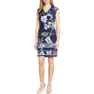 Tommy Bahama Acqua Dei Fiore Floral Print Cowl Neck Dress, Blue