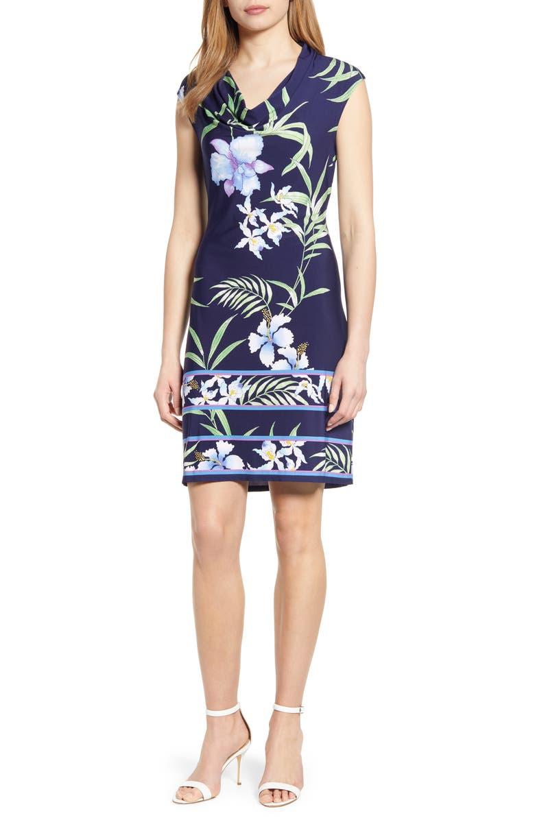 TOMMY BAHAMA Acqua Dei Fiore Floral Print Cowl Neck Dress, Main, color, ISLAND NAVY