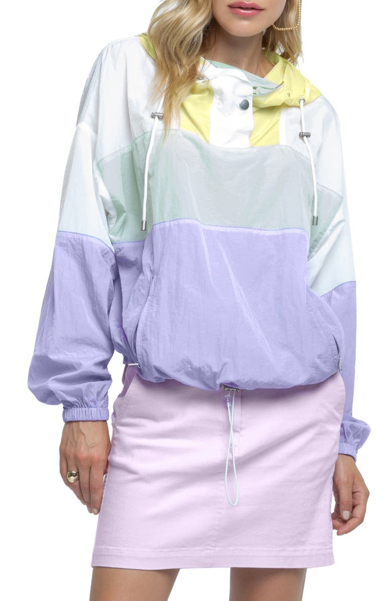ASTR THE LABEL Sawyer Hooded Windbreaker, Main, color, PASTEL COLOR BLOCK