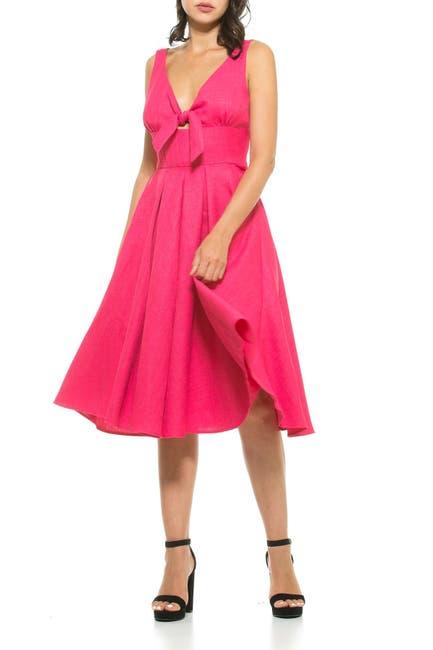 Image of Alexia Admor Karina V-Neck Front Tie Dress