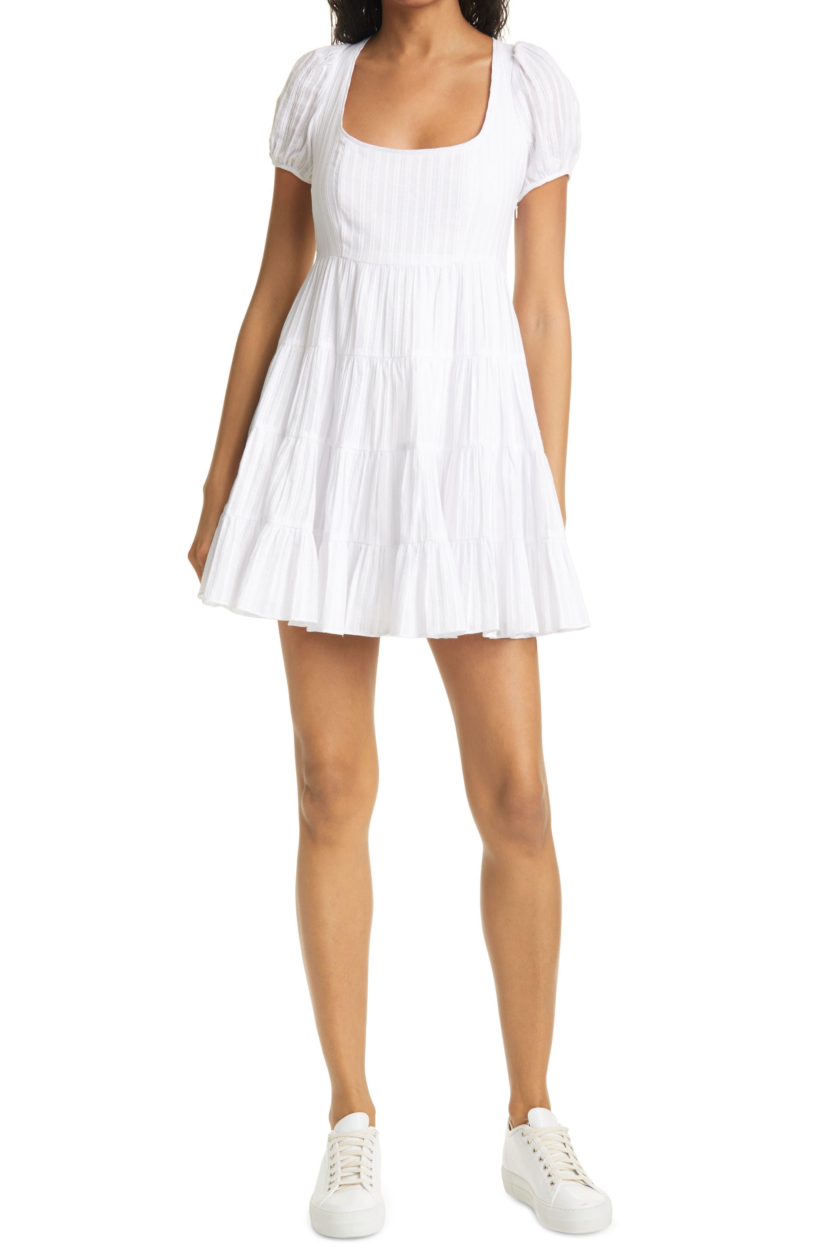 Chloe Puff Sleeve Textured Tiered Minidress