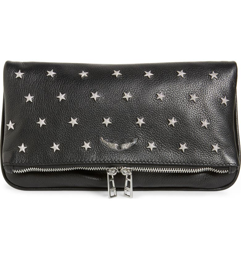 ZADIG & VOLTAIRE Rock Star Studded Leather Clutch, Main, color, NOIR