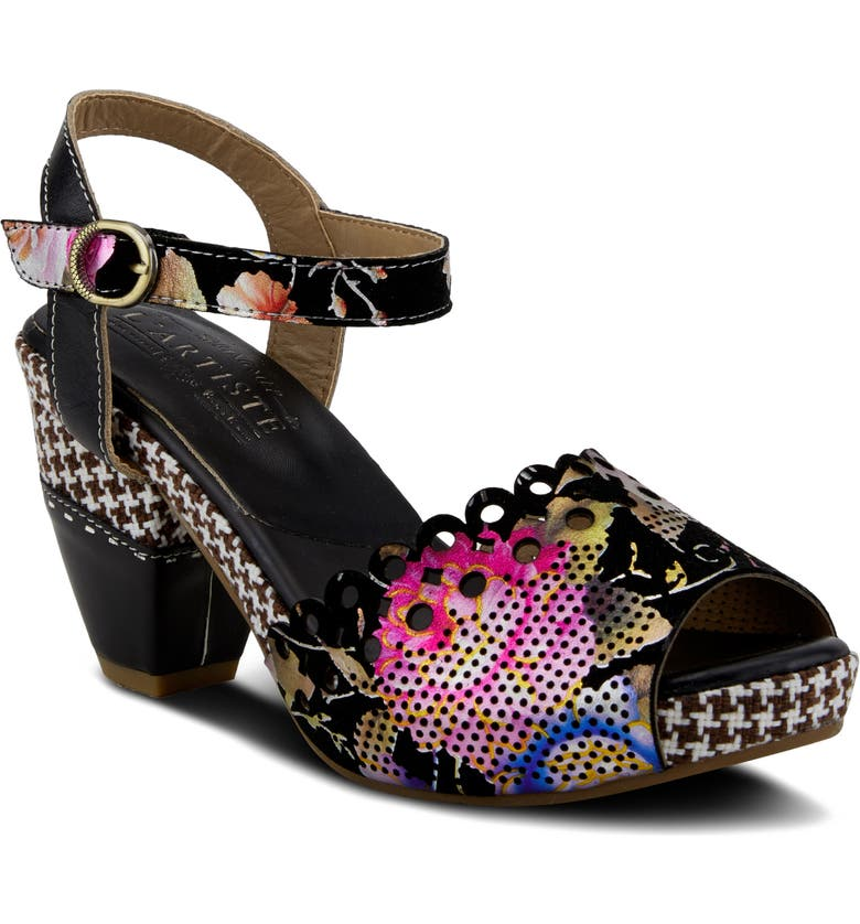 L'ARTISTE Jivvi Platform Sandal, Main, color, BLACK LEATHER