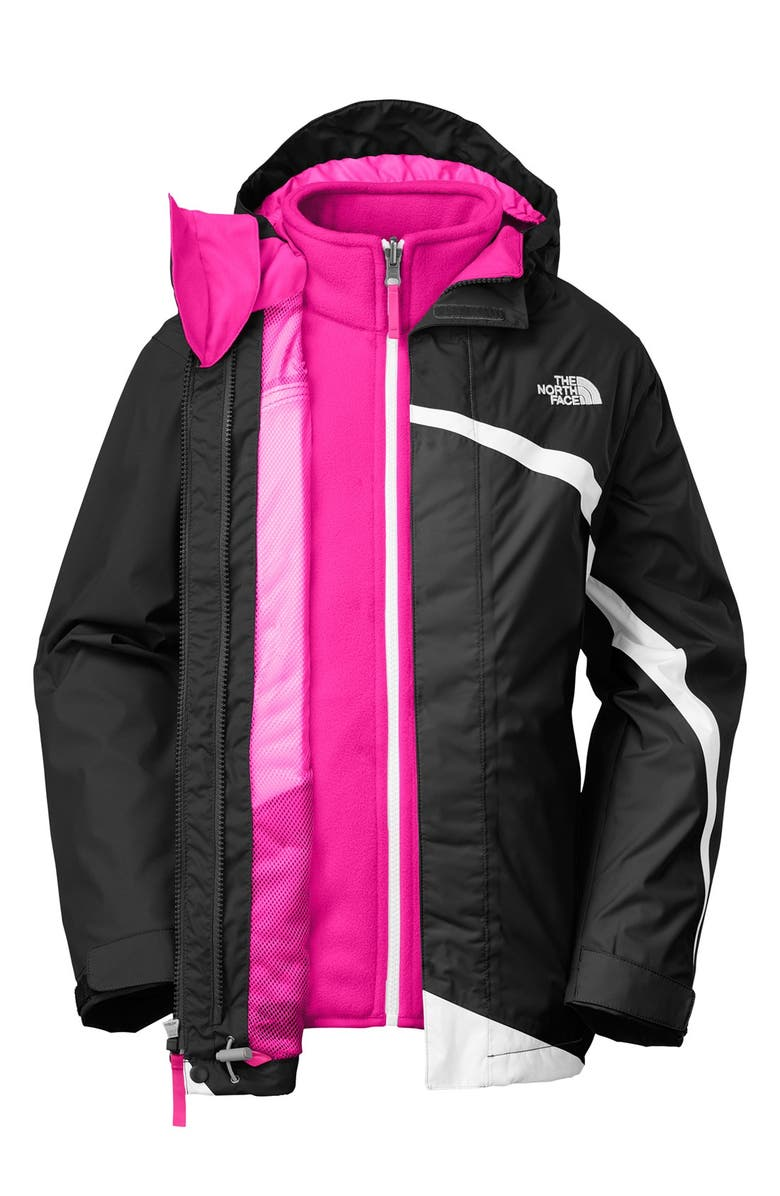 THE NORTH FACE 'Mountain View TriClimate<sup>®</sup>' 3-in-1 Waterproof Hooded Jacket, Main, color, 001