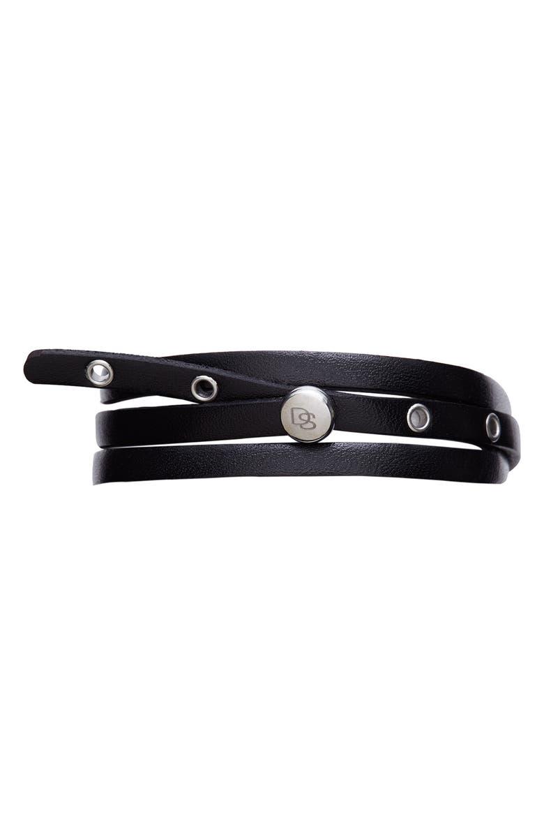 DEGS & SAL Leather Wrap Bracelet, Main, color, BLACK