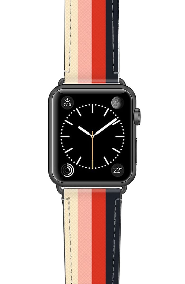 CASETIFY Rad Retro Saffiano Faux Leather Apple Watch<sup>®</sup> Strap, Main, color, SPACE GREY