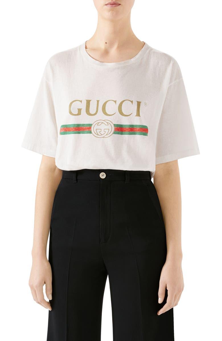 GUCCI Logo Oversize Cotton Graphic Tee, Main, color, MILK PRINT