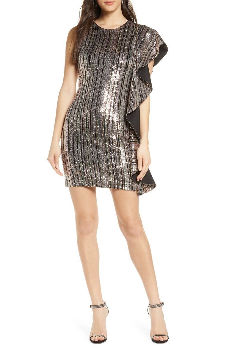 ONE33 SOCIAL Sequin Stripe Ruffle Side Minidress, Main, color, GOLD MULTI