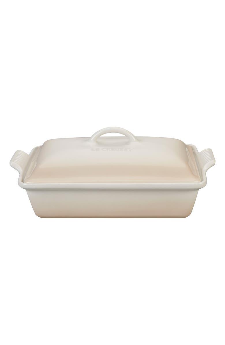 LE CREUSET 4-Quart Heritage Rectangular Covered Baking Dish, Main, color, MERINGUE