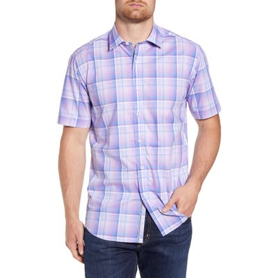 Bugatchi Shaped Fit Plaid Short Sleeve Button-Up Shirt, Purple