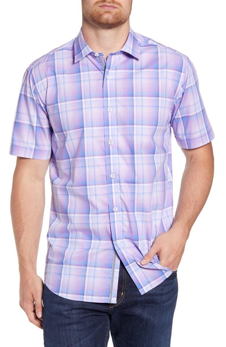 BUGATCHI Shaped Fit Plaid Short Sleeve Button-Up Shirt, Main, color, 531