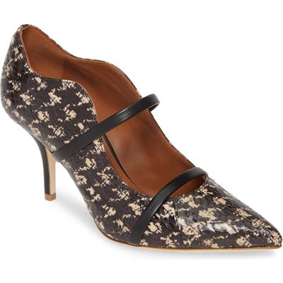Malone Souliers Maureen Double Band Genuine Snakeskin Pump, Black (Nordstrom Exclusive)