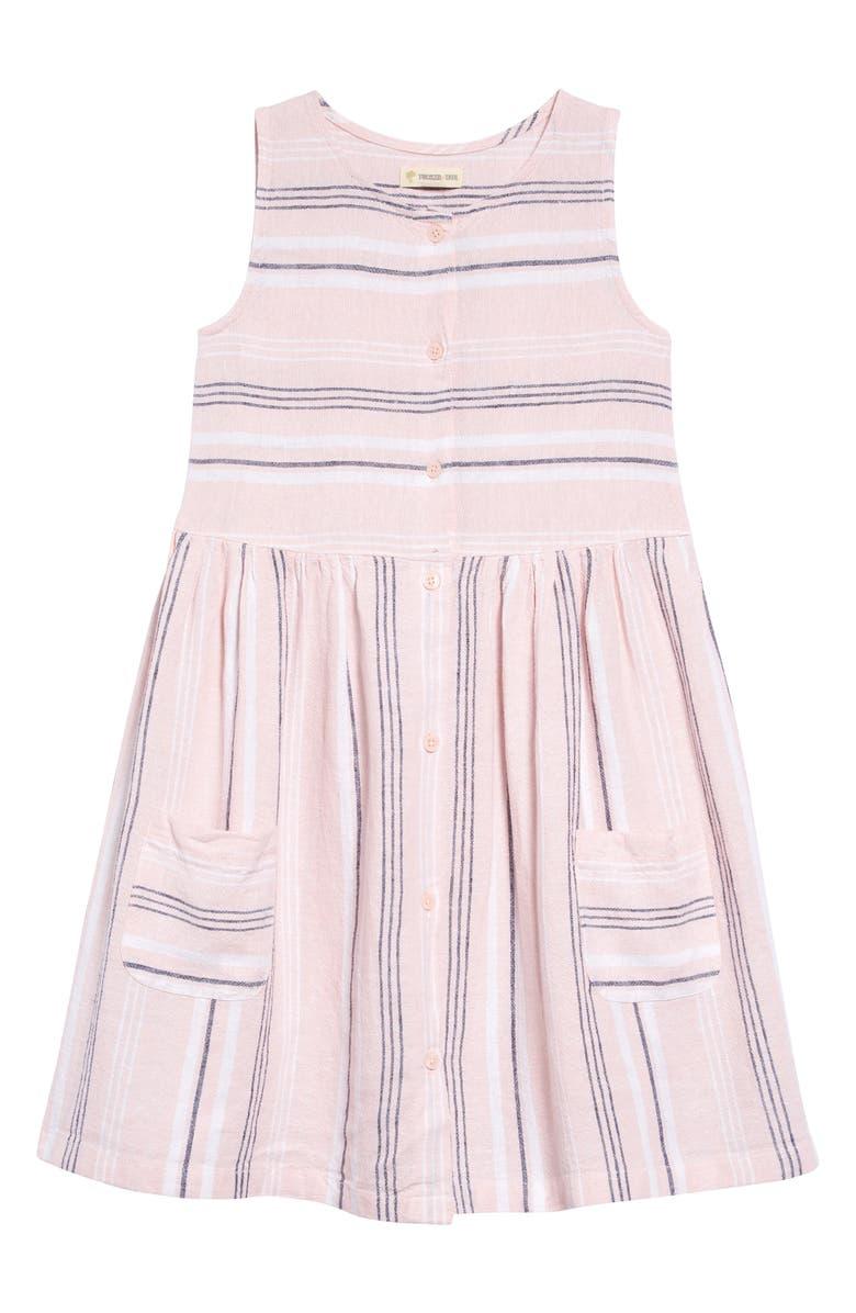 TUCKER + TATE Stripe Woven Dress, Main, color, PINK PEACHSKIN MULTI STRIPE