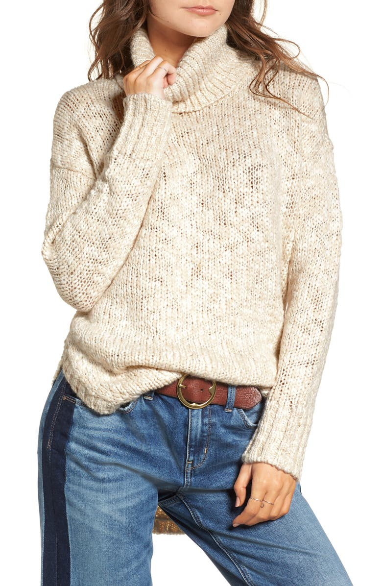 TREASURE & BOND Turtleneck Sweater, Main, color, BEIGE BEACH COMBO