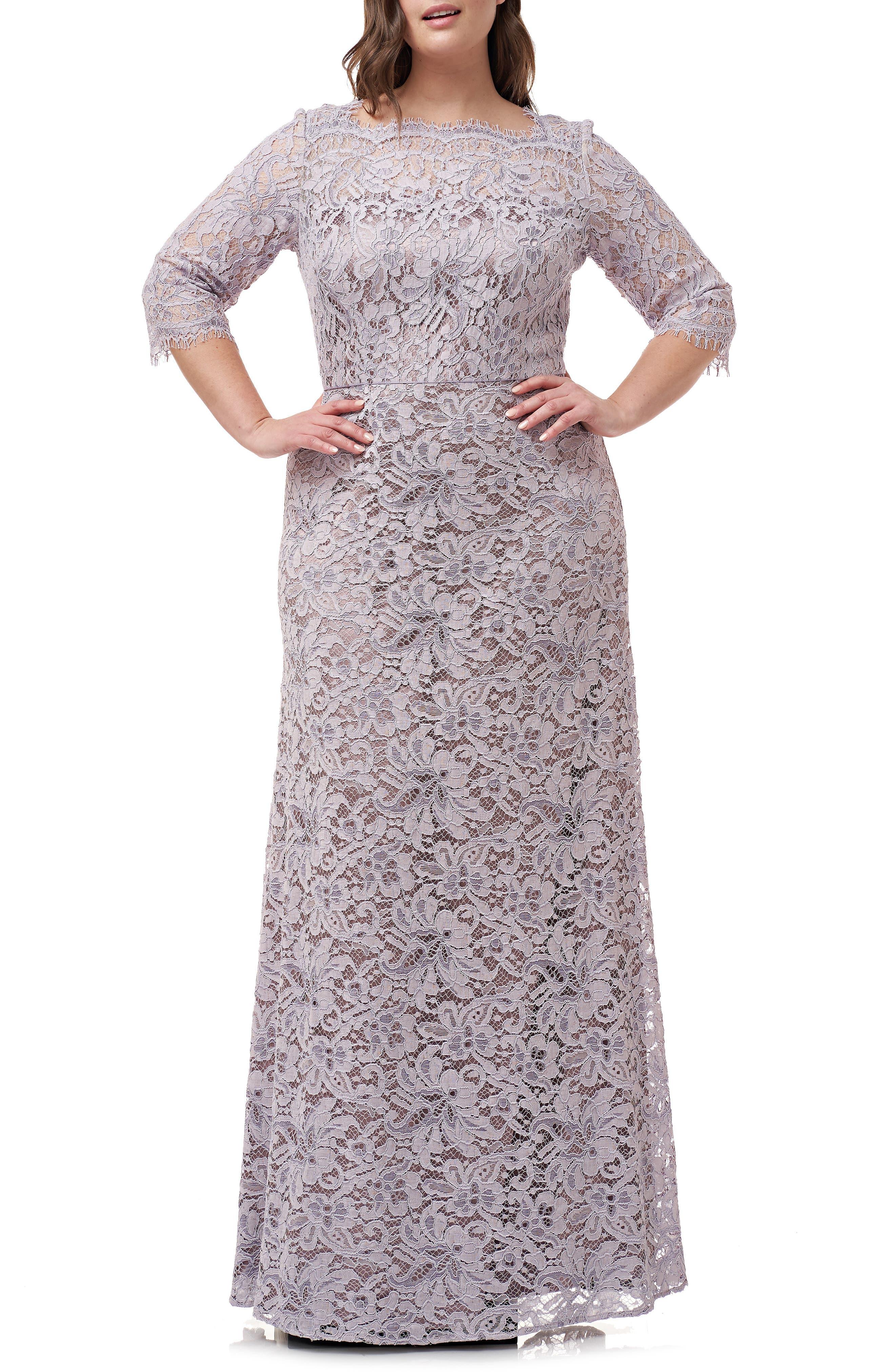Plus Size Js Collections Bateau Neck Lace Gown, Purple