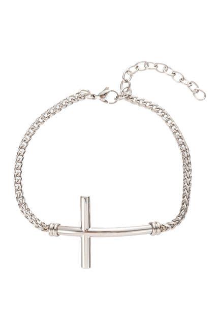 Image of Eye Candy Los Angeles Carson Cross Titanium Chain Link Bracelet