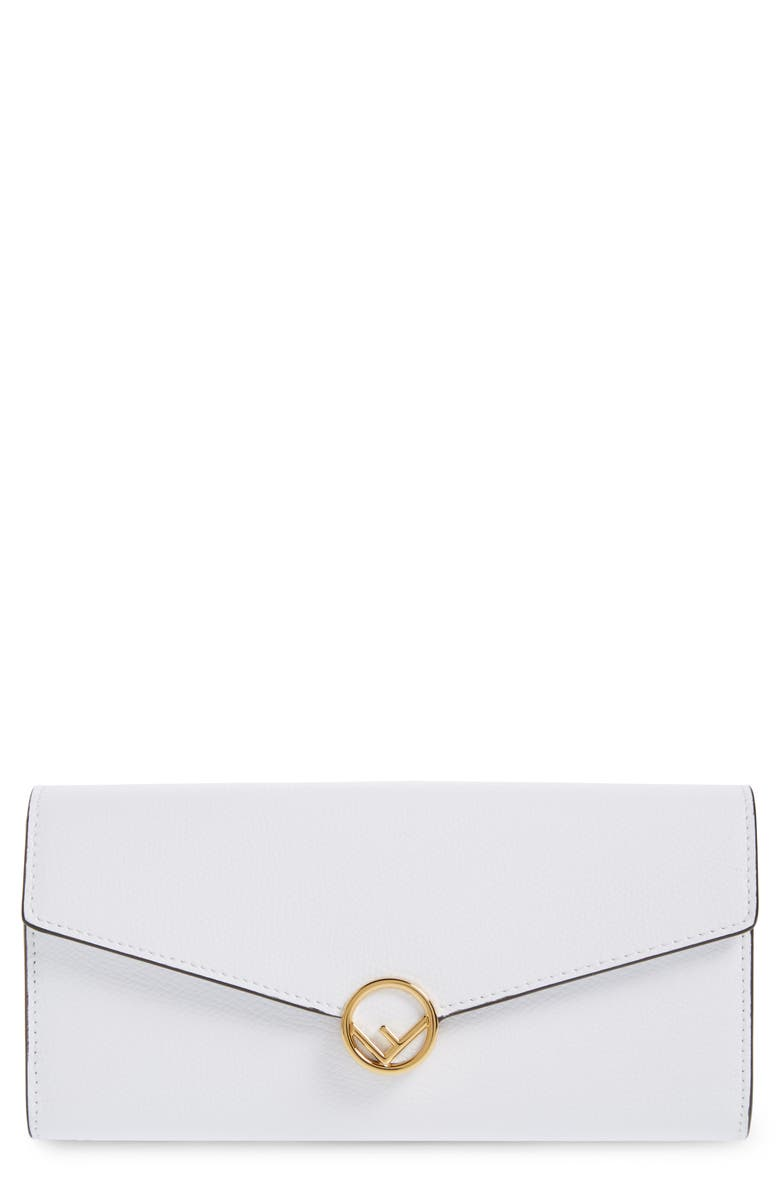 FENDI Logo Flap Leather Continental Wallet, Main, color, WHITE