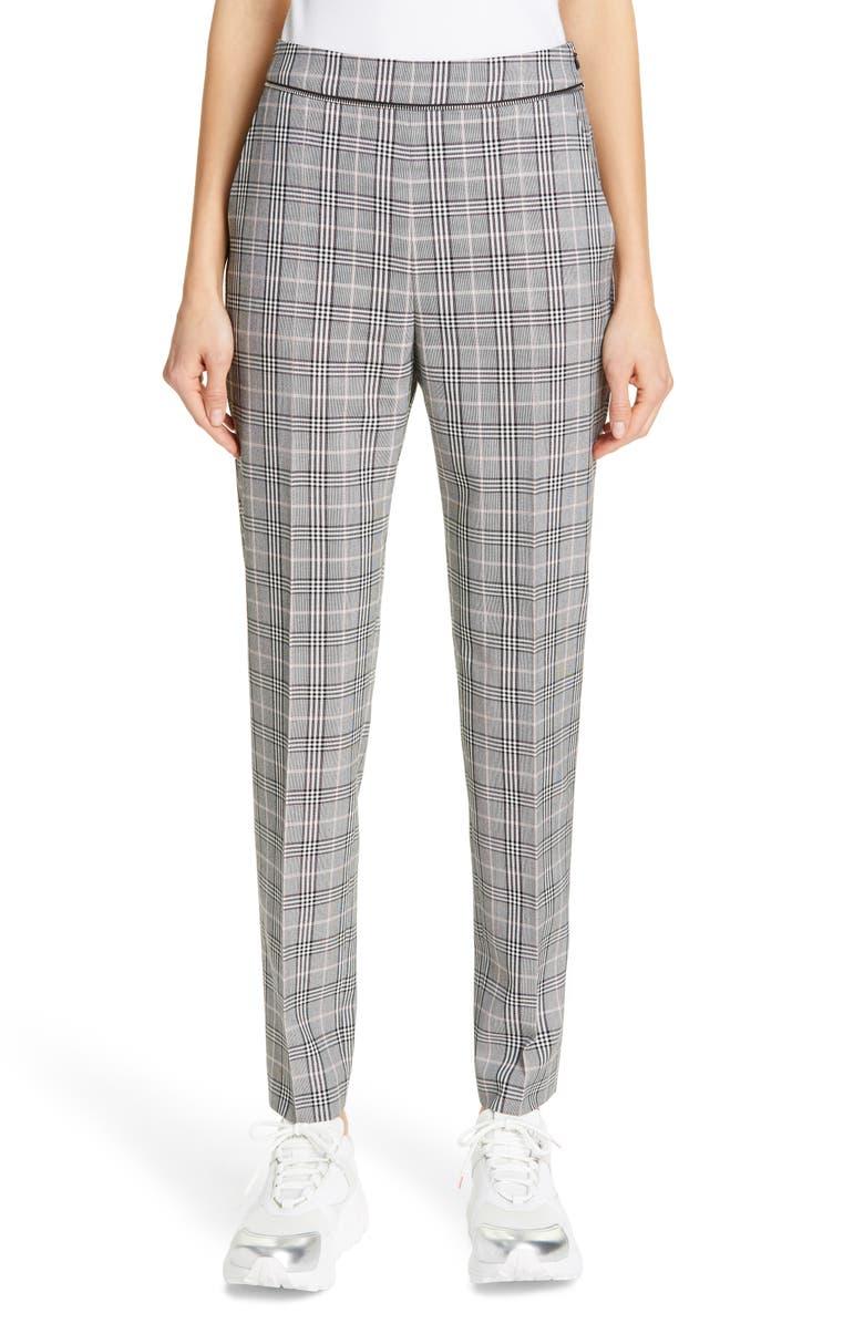 HUGO Holisas Plaid Pants, Main, color, GREY