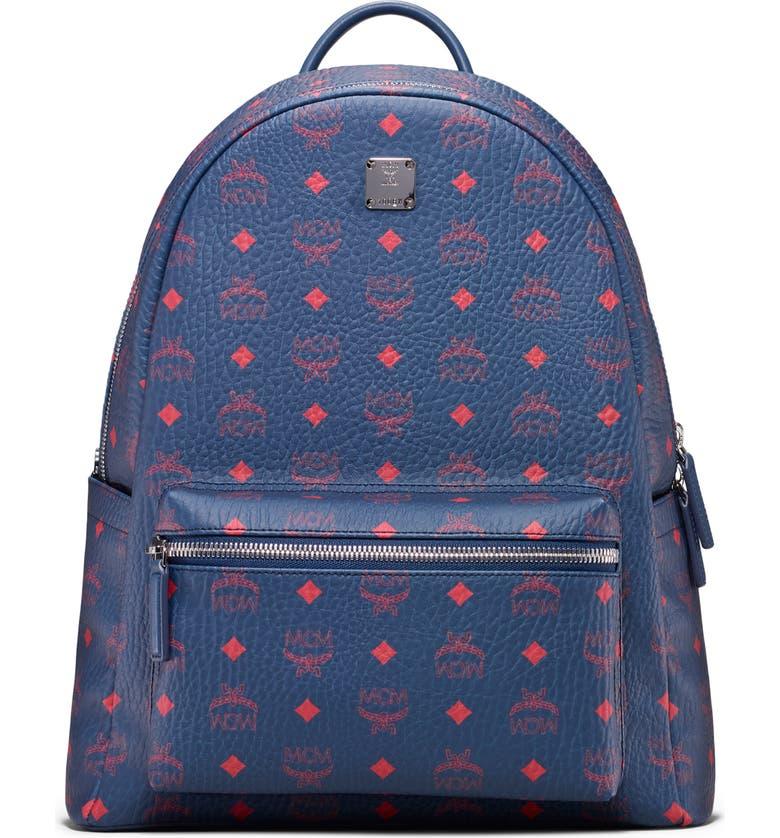 MCM Stark Coated Canvas Backpack, Main, color, DEEP BLU SEA