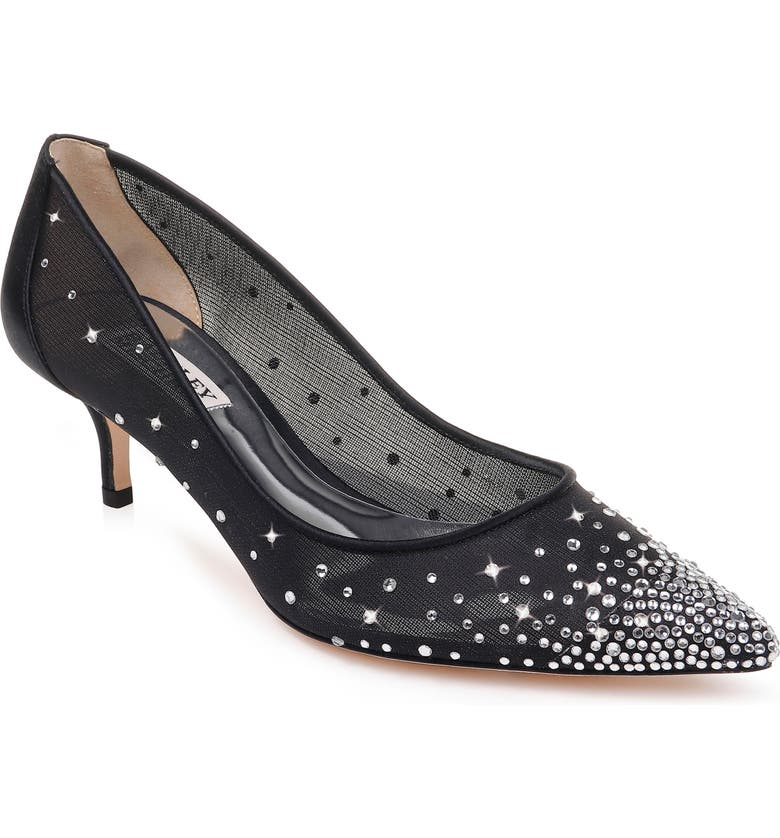 BADGLEY MISCHKA COLLECTION Badgley Mischka Felicity Crystal Embellished Pump, Main, color, BLACK SATIN/ MESH