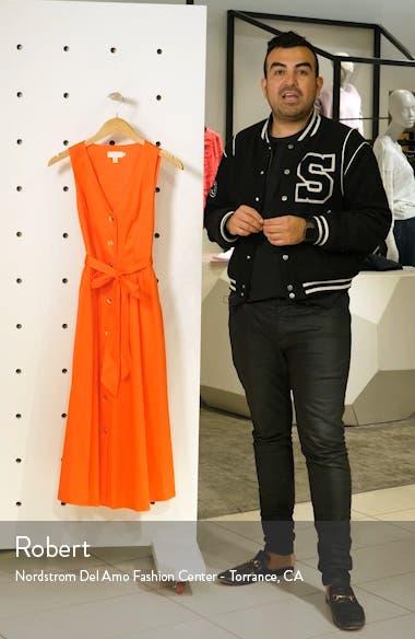 Ryylie Button-Up Tie Front Cotton Midi Dress, sales video thumbnail