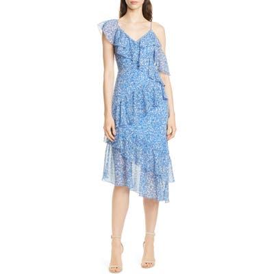 Alice + Olivia Olympia Asymmetrical Ruffle Dress, Blue