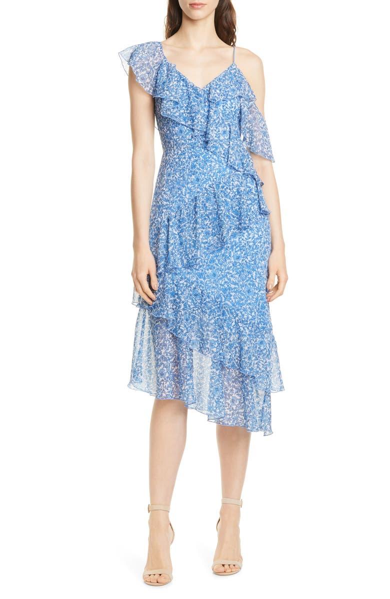 ALICE + OLIVIA Olympia Asymmetrical Ruffle Dress, Main, color, 400