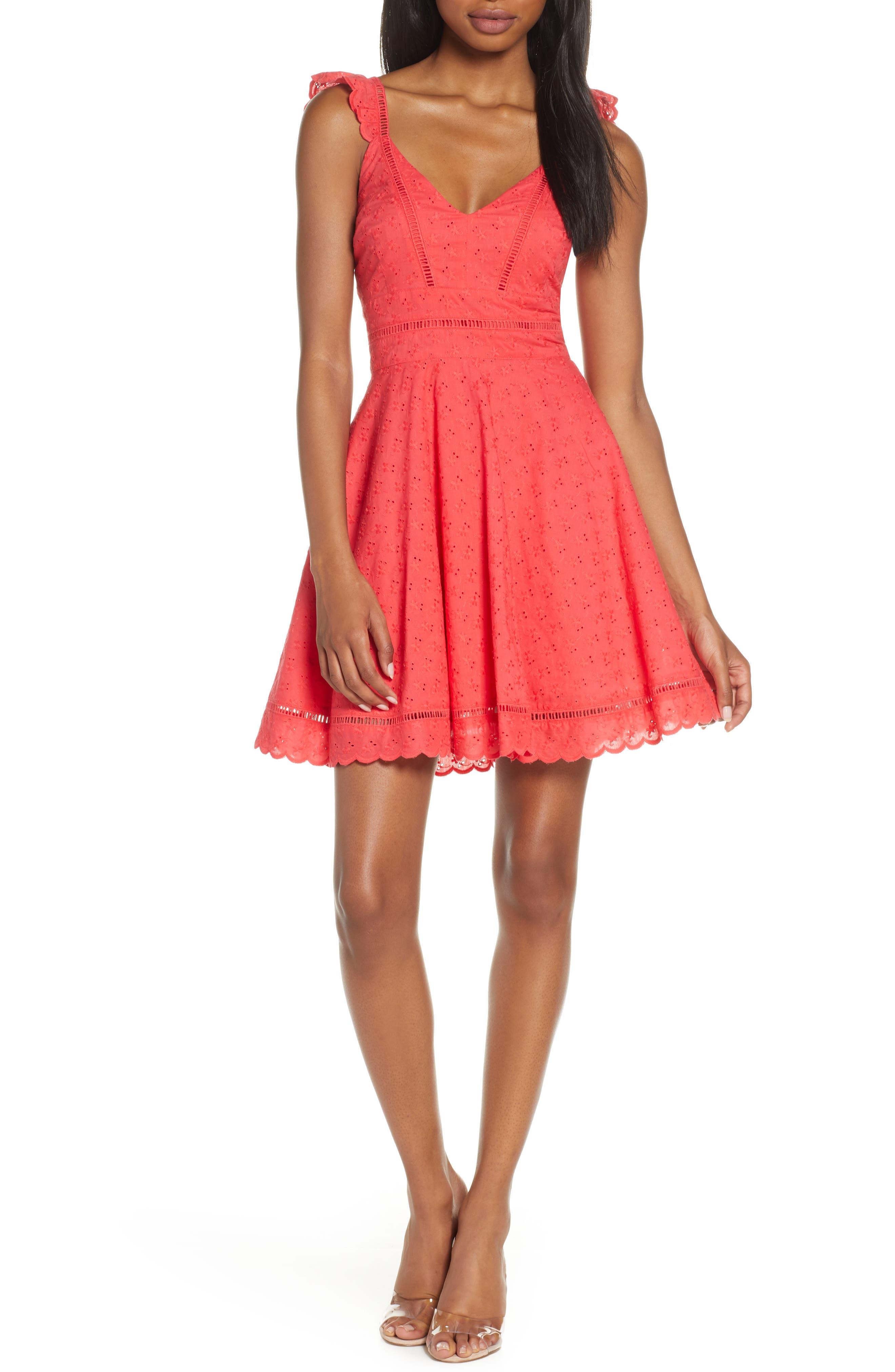 Bb Dakota Eyelet You Win Fit & Flare Dress, Red