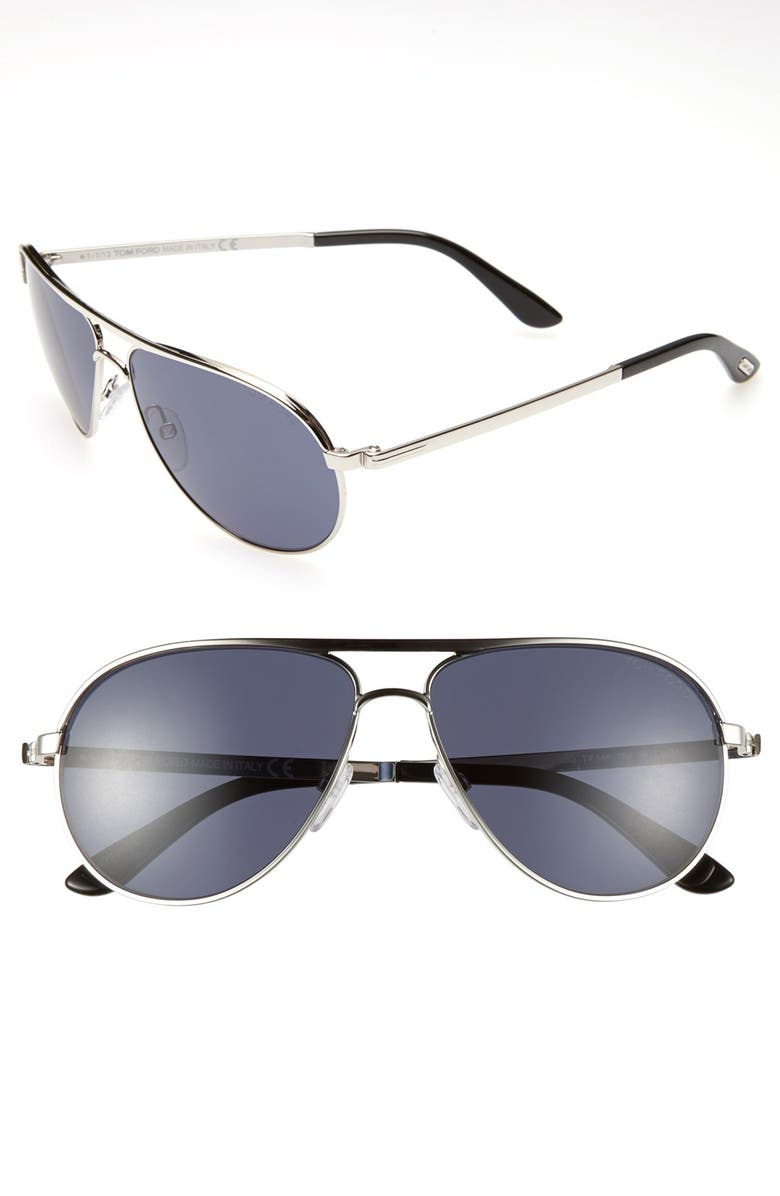 TOM FORD 'Marko' 58mm Sunglasses, Main, color, RHODIUM