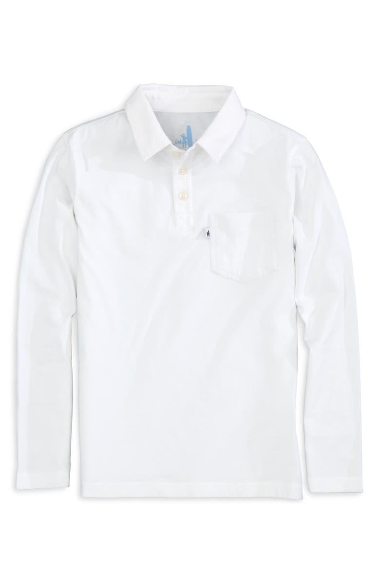 JOHNNIE-O Kip Long Sleeve Polo, Main, color, WHITE