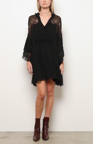 Lace Panel Ruffle Long Sleeve Silk Minidress, video thumbnail