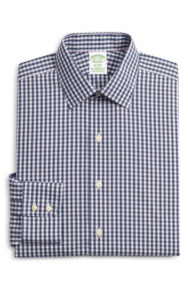 BROOKS BROTHERS Milano Slim Fit Stretch Plaid Dress Shirt, Main, color, BLUE